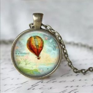 Jewelry - Hot Air Balloon Glass and Bronze Necklace